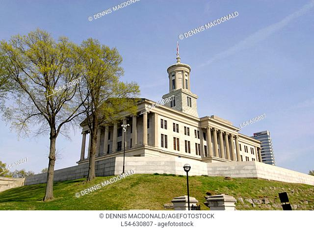 State Capitol and Surrounding Statues and Monuments Nashville Tennessee. USA