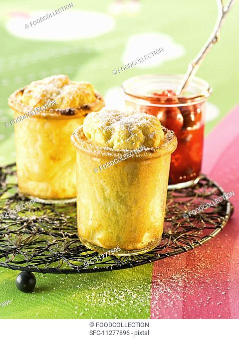 Mini lemon and quark souflés with icing sugar