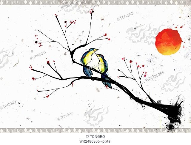 New year's card illustration with birds in tree and the sun