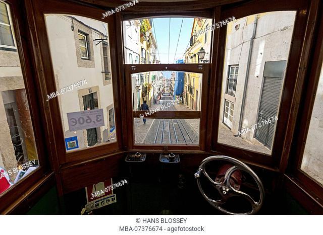 Ascensor da Glória Funicular, linking lower Baixa to higher Chiado, Lisbon, Lisbon district, Portugal, Europe