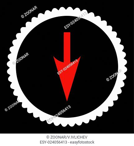 Sharp Down Arrow flat red and white colors round stamp icon