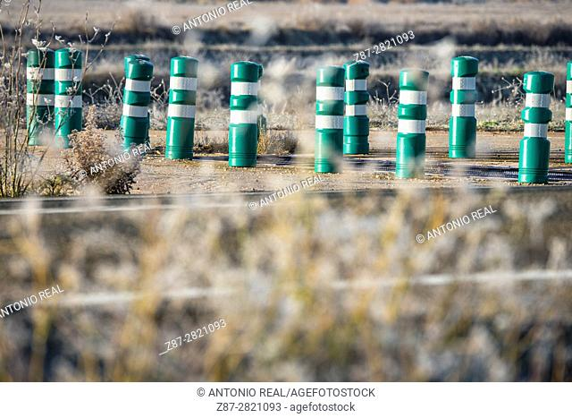 Green bollards. Almansa. Albacete province. Spain