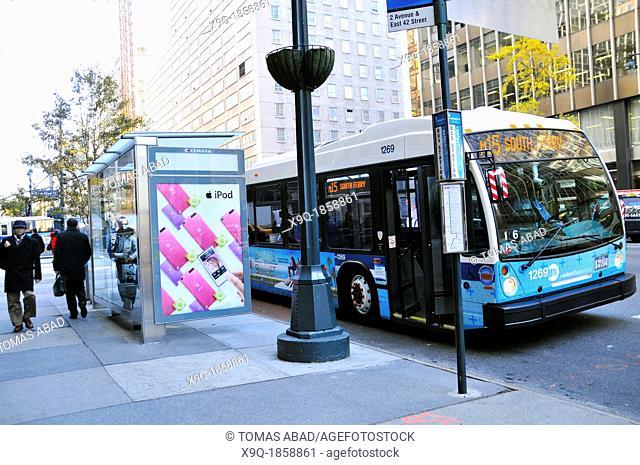 New York City Public Transportation M15 Bus, Manhattan, New York City, USA
