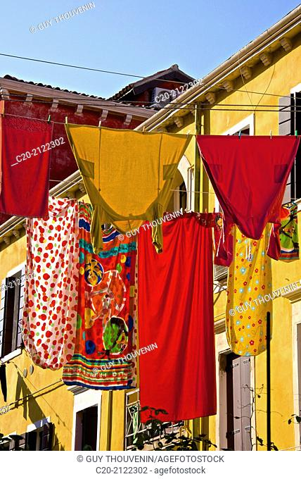 Washing day, linen drying, Castello, Venice, Italy