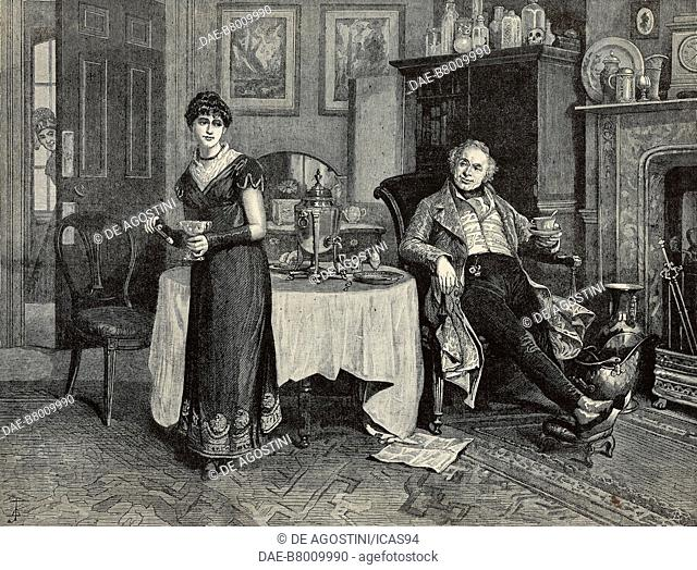 Our first-floor lodger, a man sitting at the table in front of the fireplace, engraving after a painting by Henry Gillard Glindoni (1852-1913)