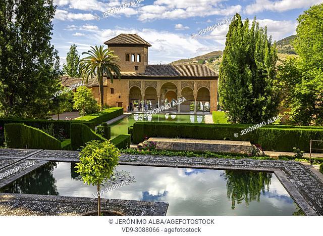 Torre de las Damas. Gardens, Alberca & fountains. El Partal, Nazaries palaces. Alhambra, UNESCO World Heritage Site. Granada City