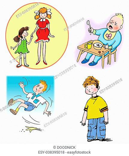 Some Hand drawn Raster illustrations about children and relations between them. On white background