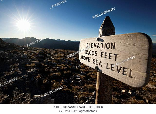 Elevation Sign 12,005 Feet - Alpine Tundra Ecosystem - Rocky Mountain National Park, near Estes Park, Colorado, USA