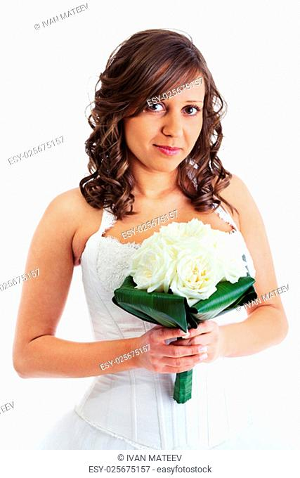 Young bride with wedding bouquet isolated on white background