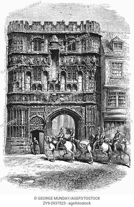 1870: Soldiers approaching the main entrance to Canterbury Cathedral Precinct. Christ Church Gateway, (sometimes called the Precinct Gate) was built around 1502...