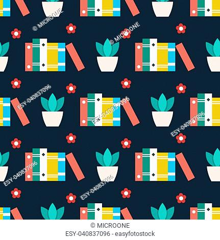 Cute seamless pattern with books plant and flowers. Vector illustration