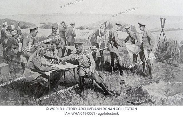 Generals Hindenburg and Ludendorff brief the German Kaiser Wilhelm II and the Crown Prince at The Battle of Soissons during World War One July 1918