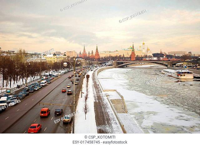 Moscow Kremlin at sunrise, winter