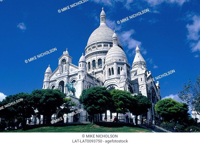 Montmartre. Basilica of Sacre Coeur church. White marble