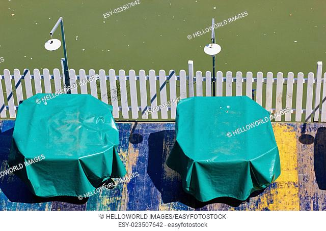 Riverside tables and lights, Rome, Lazio, Italy, Europe