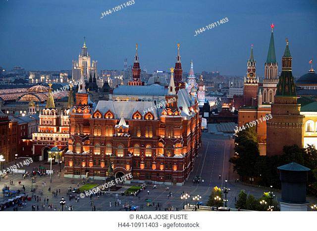 Russia, Europe, Moscow, City, Kremlin, Basil, Church, History Museum, spire, Skyline, cathedral, people, by night