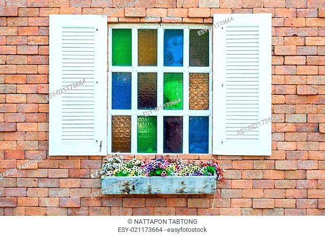 vintage window brick wall