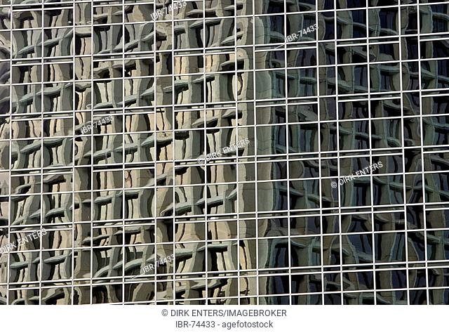Reflections on the facade of an office building in Vancouver, British Columbia, Canada