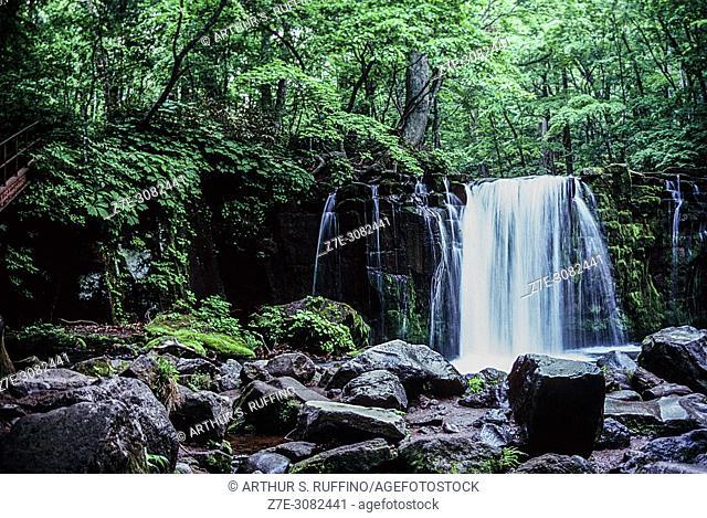 Choshi Otaki Waterfall (Grand Choshi Waterfall), Oirase Gorge, Towada Hachimantai National Park, Tohoku Region, Honshu Island, Japan