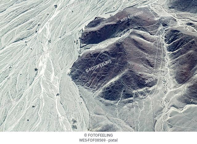 Peru, Nazca, Aerial view of geoglyphs of Nazca, The Astronaut