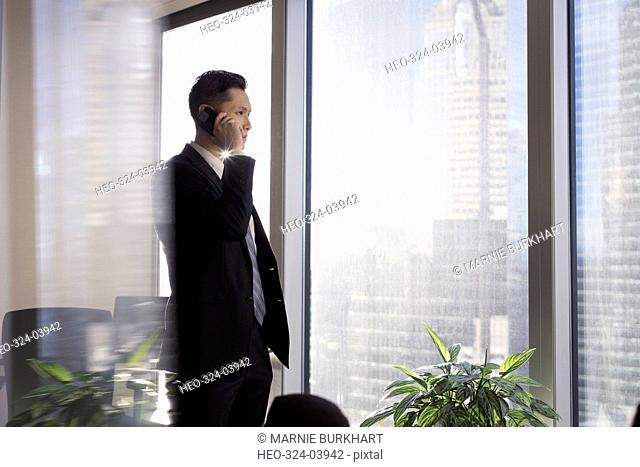 Male lawyer talking on cell phone at urban office window