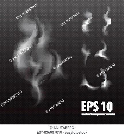 design element: set of white smoke on transparent black background, white smoke on black background, smoke background, smoke background