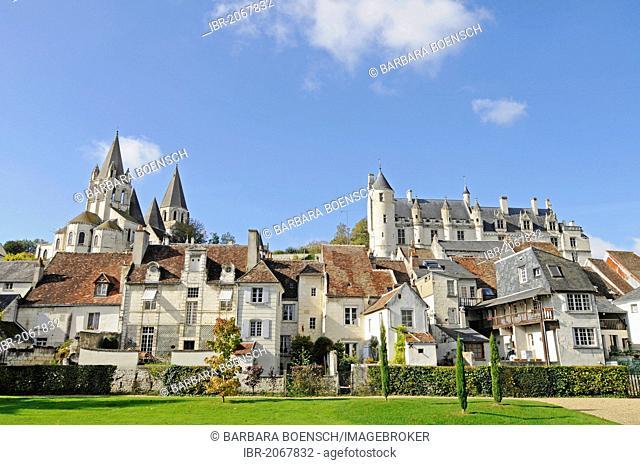 Church of Saint-Ours, Logis Royal Castle, residence, Castle Hill, Loches, Tours, Indre-et-Loire, Centre region, France, Europe, PublicGround