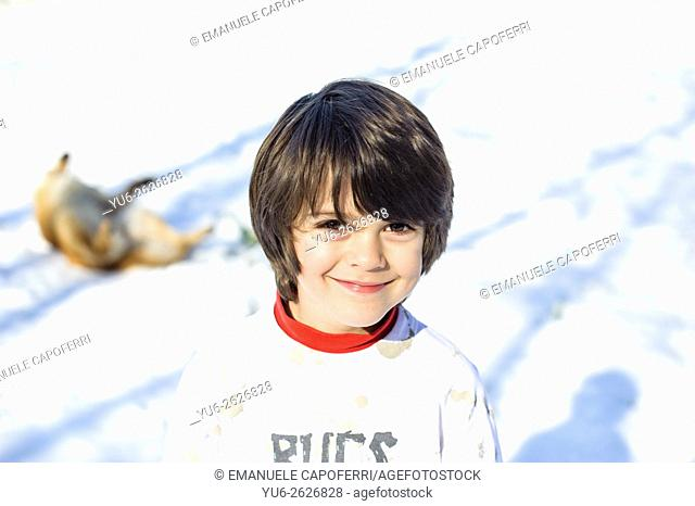 Outdoor portrait of a 7 year old