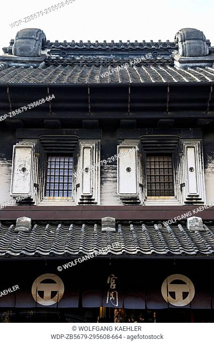 Detail of an old warehouse in the warehouse district of Kawagoe near Tokyo, Japan