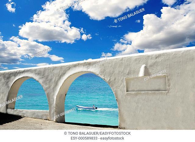 mediterranean sea view white archs architecture blue sky