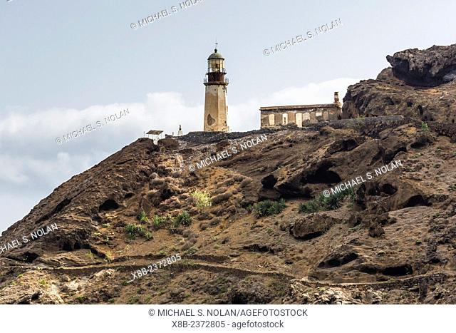An unmanned lighthouse built on lava on Santo Antao Island, Cape Verde