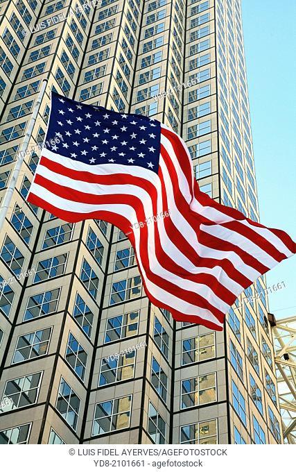 Building and American Flag Downtown Miami, Florida, USA