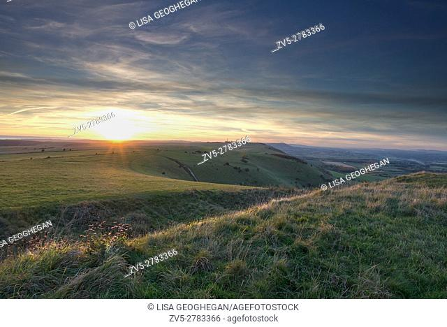 Sunset at Devil's Dyke on the South Downs Way, West Sussex, England, Uk, Gb