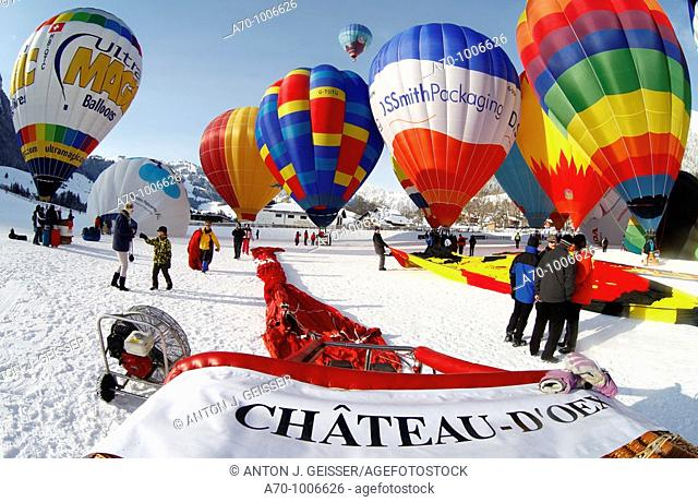 Hot air balloons Chateau - d Oex, Switzerland