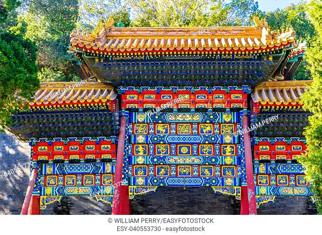 Ornate Red Blue Gate Jade Flower Island Beihai Park Beijing China Beihai created in 1000 AD, Stupa in 1600s.
