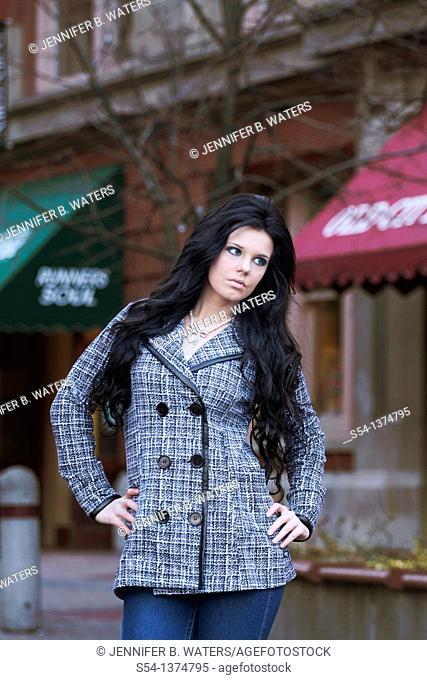 A fashion model in downtown Spokane, Washington, USA