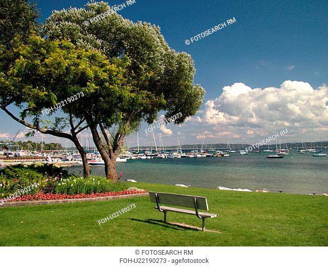 Harbor Springs, MI, Michigan, Lake Michigan, City Park, lakefront, marina, park bench