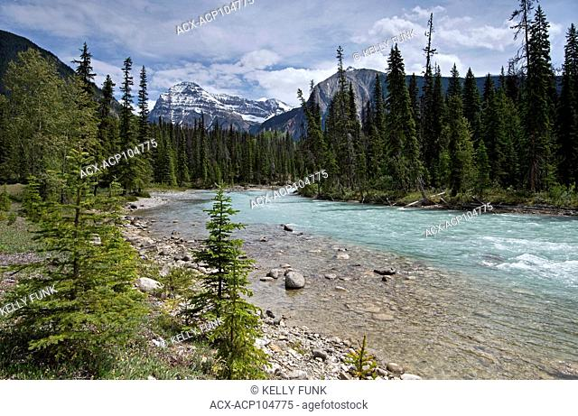 The Kicking Horse River with Cathedral Mountain in the back, Yoho National Park, Rocky Mountain Region, British Columbia, Canada