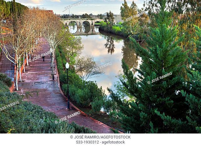 Roman bridge and Guadiana river in Merida. Badajoz. Extremadura. Spain