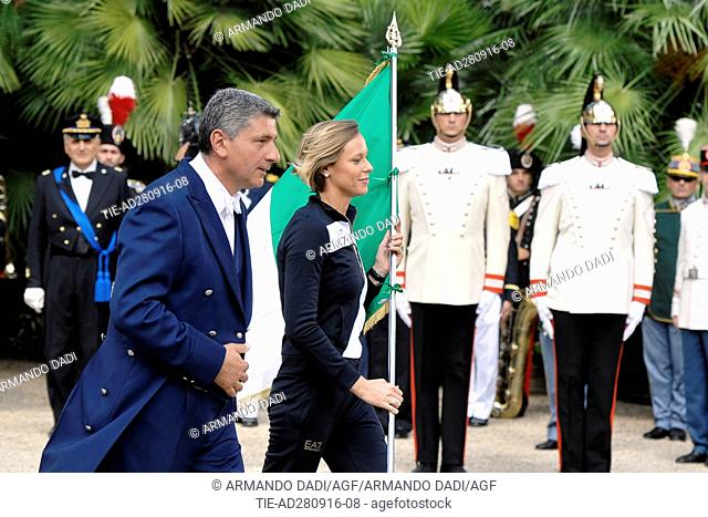 The athlete Federica Pellegrini with Italian flag during the ceremony at Quirinale, Rome, ITALY-28-09-2016