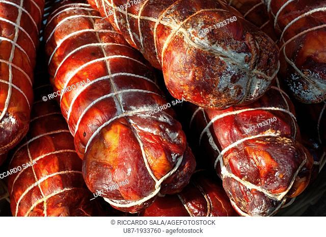 Italy, Calabria, Market, Calabrian Sausage, Capocollo
