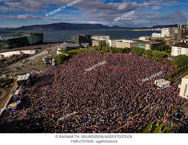 The Icelandic National Football Team returns home from the UEFA Euro 2016 tournament to a hero's welcome, Reykjavik, Iceland