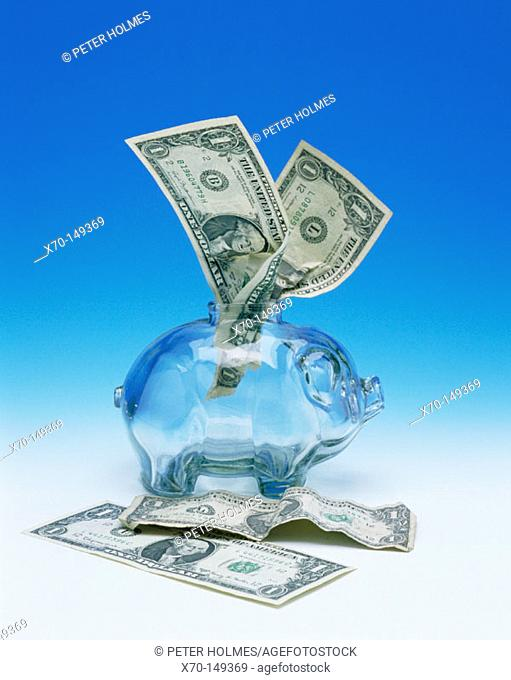Dollars bills and money box