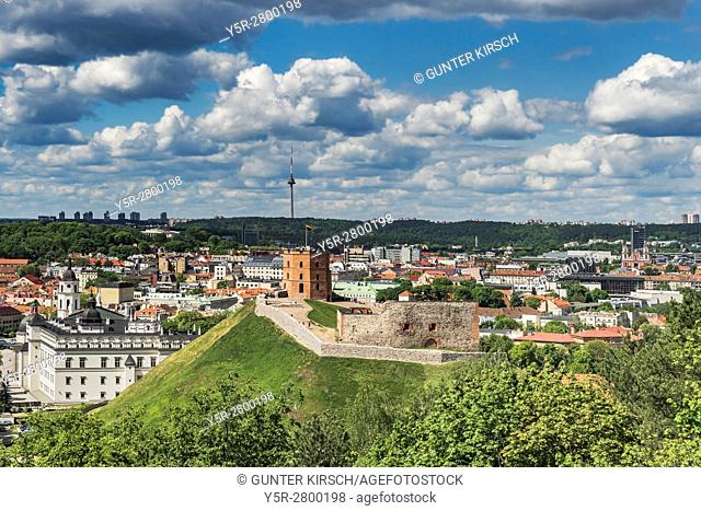 View over Vilnius to Gediminas Tower. The Gediminas Tower is the landmark of Vilnius. It is located on the 142 metres high Castle Mountain and is the only...