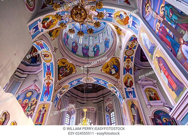 Interior Dome Saint George Cathedral Vydubytsky Monastery Kiev Ukraine. Vydubytsky Monastery is the oldest functioning Orthordox Monasatery in Kiev