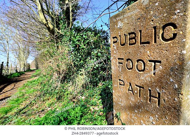 Boughton Monchelsea Village, Maidstone, Kent, England. Stone Public Footpath sign