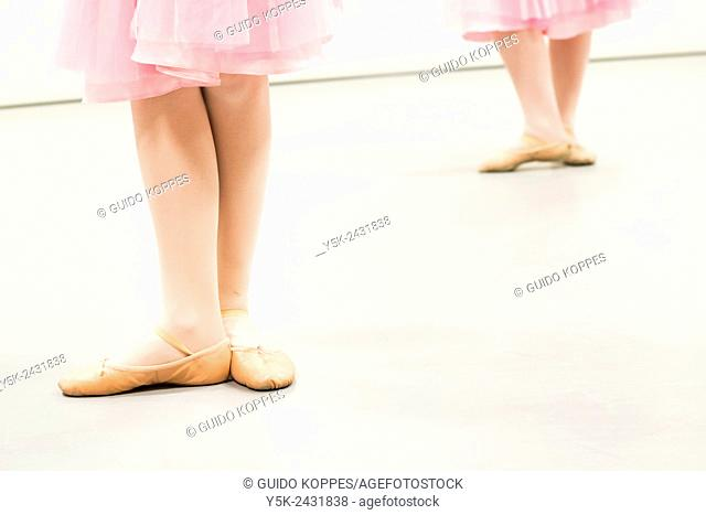 Den Bosch, 's-Hertogenbosch, Netherlands. Class of schoolgirls practising classical ballet at a local balletstudio