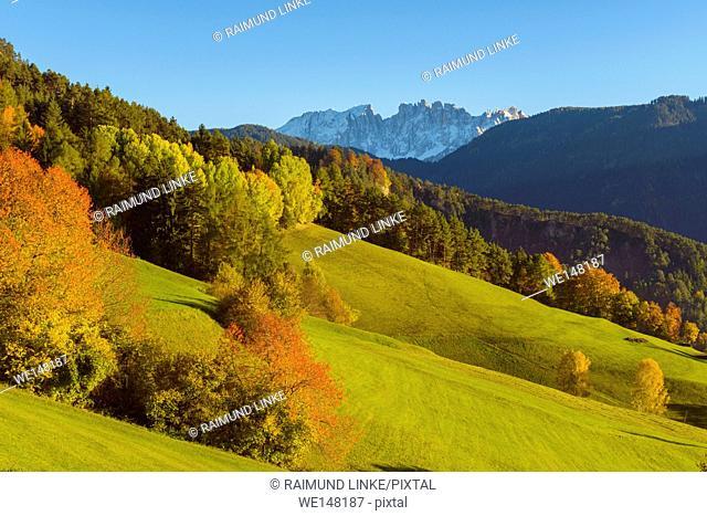 Autumnal mountain landscape, Oberaicha, Tiers, Dolomites, Trentino-Alto Adige, South Tirol, Italy, Europe