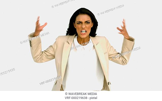 Businesswoman shouting with rage