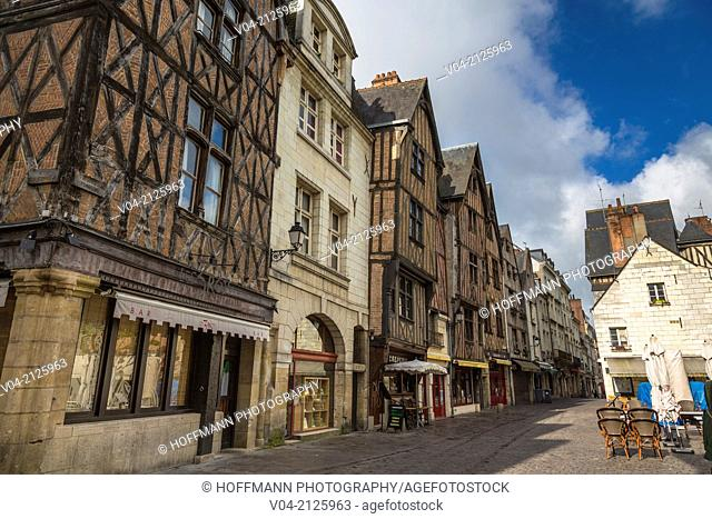 Beautiful timbered houses on Place Plumerau in the picturesque village of Tours, Indre-et-Loire, France, Europe